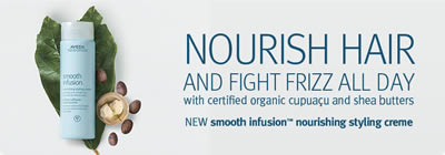Aveda Smooth Infusion hair care products at Off Center Salon