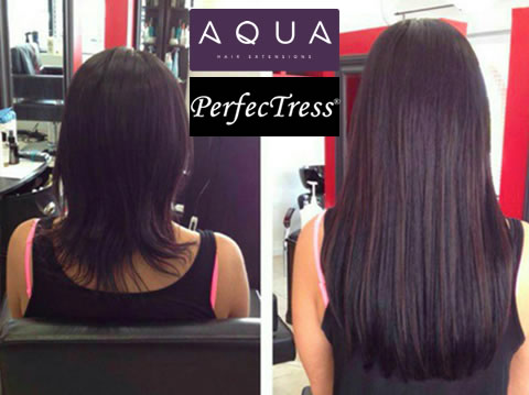 Off Center Salon offers hair extensions by Aqua and Perfectress